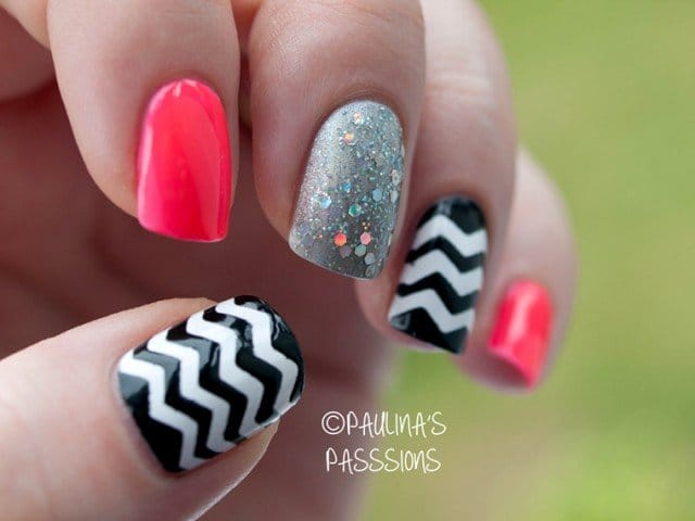 15 idee per nail art a zig zag. Black Bedroom Furniture Sets. Home Design Ideas