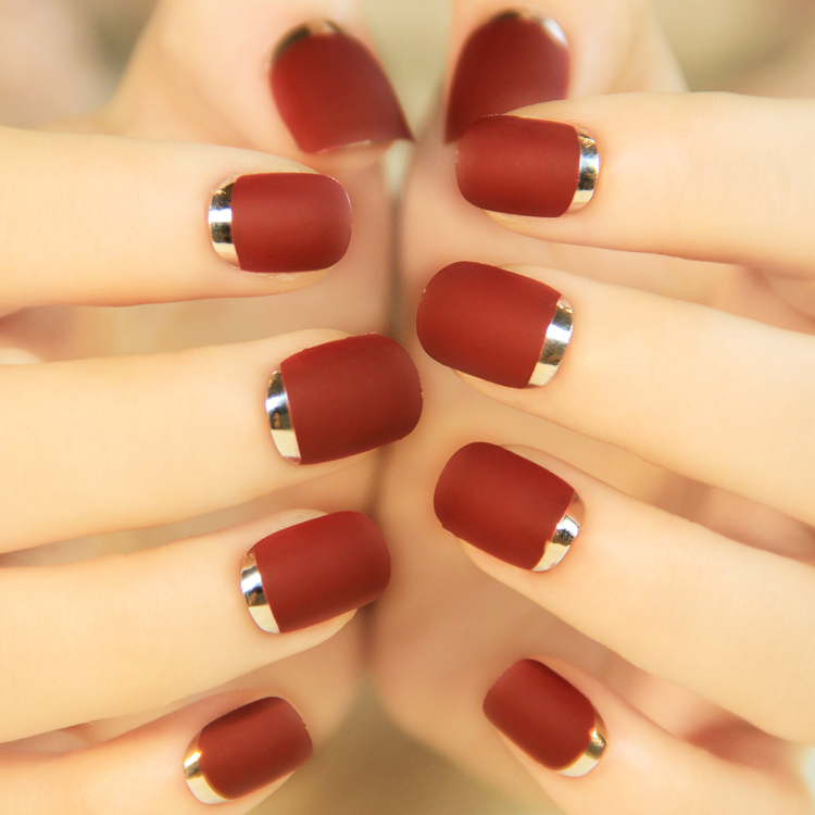 2015-Hot-Sale-24Pcs-French-Full-Cover-Bordeaux-Metal-Frosted-Short-False-Nail-Pits-Art-Finished