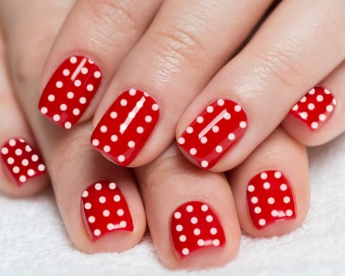 red-nails-with-white-polka-dot-nail-art-designs